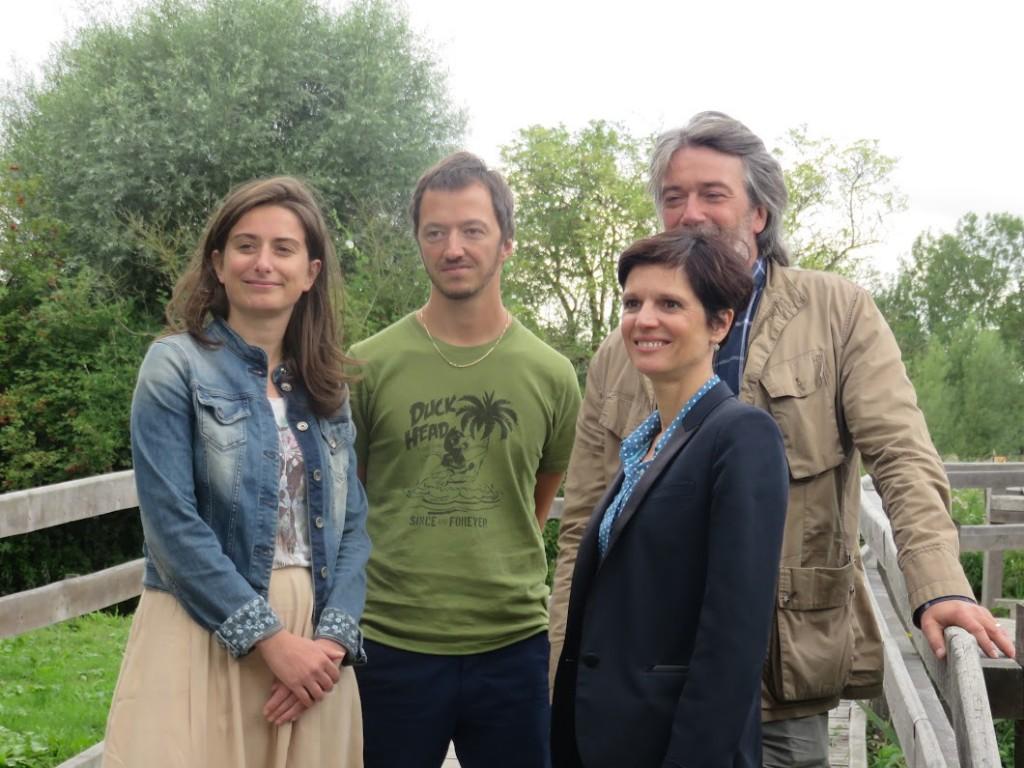 L'écologiste Sandrine Rousseau avec les têtes de liste Nord et Pas-de-Calais pour les élections régionales de 2015.